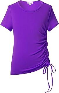 Mirawise Girls Casual Long Sleeve Shirts Tunic Tops Tee Shirt T-Shirts Side Drawstring Blouse 4-13Y