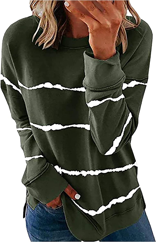 Womens Casual Crewneck Tie Dye Sweatshirt Striped Printed Loose Long Sleeve Pullover Tops