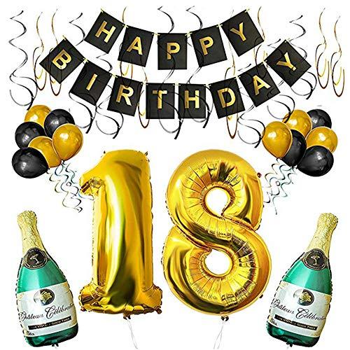 SHUIBIAN 18 Geburtstag Dekoration Schwarzes Gold Dekoration Happy Birthday Ballons Happy Birthday Banner Geburtstagsdeko für Mädchen und Jungen