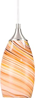 Medium Pendant Lighting, Marble Glass Handblown Multicolor Vase Shaped Pattern Shell, Brushed Nickel Finished, Adjustable Cord Mounted Fixture (Multi-Colored)