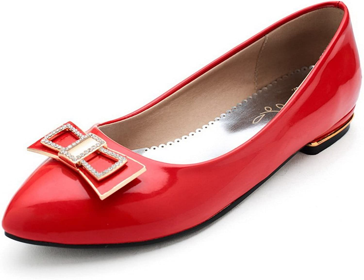 BalaMasa Ladies Knot Low-Cut Uppers Pointed-Toe Patent-Leather Flats-shoes