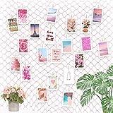 ecooe Red de pesca, tamaño L, para colgar fotos, con 40 pinzas de madera y 10 clavos sin rastro, para colgar fotos, collage de fotos, decoración de pared, color rosa