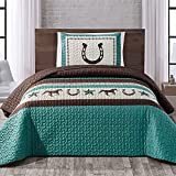 WPM WORLD PRODUCTS MART Western Teal/Beige/Brown Horseshoe, Horse, Barb Wire Cowboy Print Bedspread 2 Piece Southwestern Cabin Lodge Design Coverlet Quilt Set- JENA (Twin)