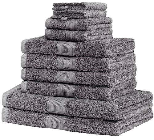 leevitex Farbenfrohe 10er Handtuch Frottier Set 2 Duschtücher, 4 Handtücher, 2 Gästetücher & 2 Waschhandschuhe 100% Baumwolle (Anthrazit/Grau)