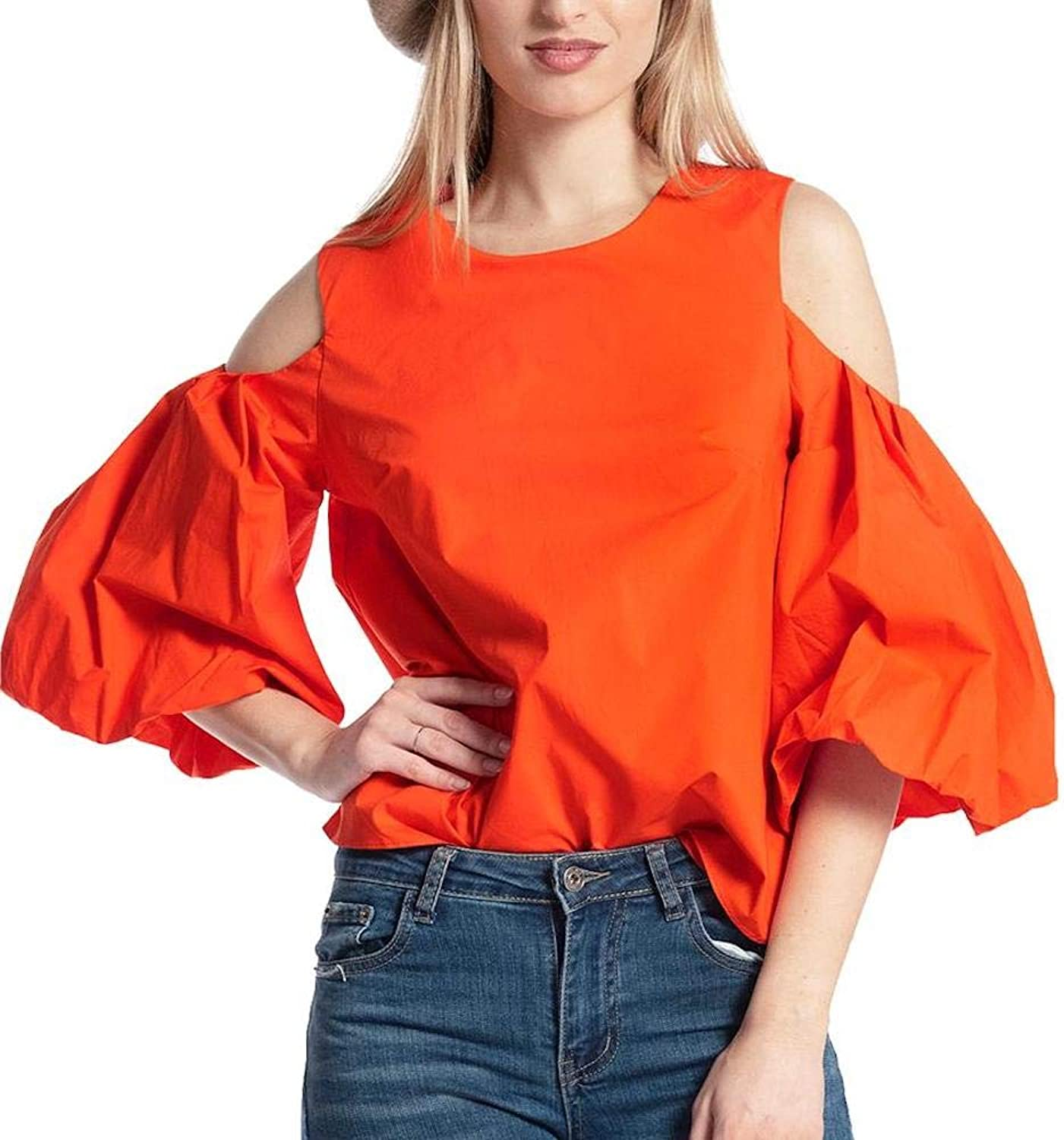 Gracia Cold Shoulder Puff Blouse
