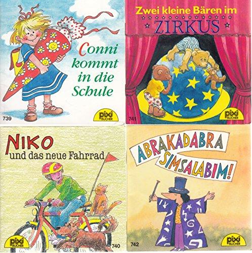 4 Pixi-Bücher aus PIXI-Serie 89: Nr. 739 Conni kommt in die Schule; 740 Niko und das neue Fahrrad; 741 Zwei kleine Bären im Zirkus; 742 Abrakadabra Simsalabim!.