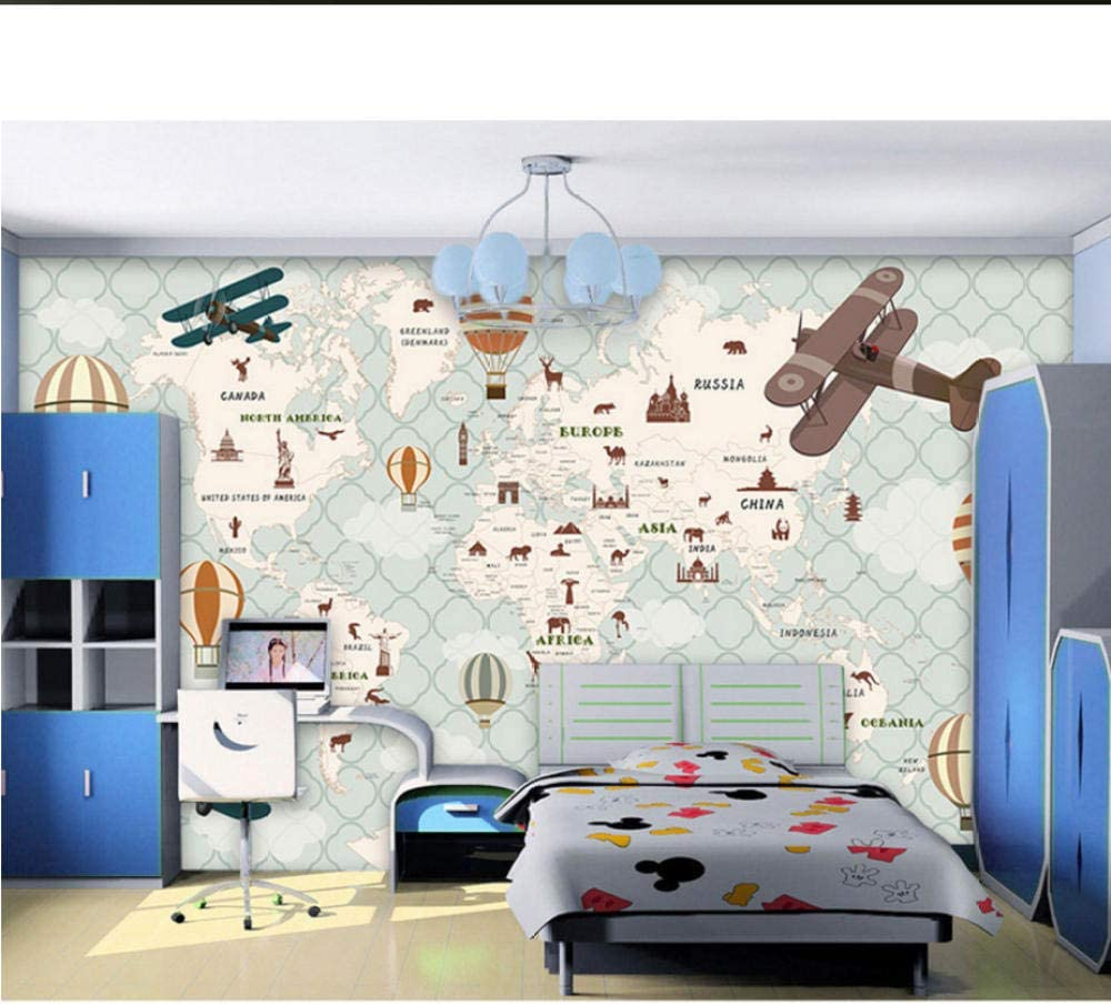 Children's Room Wall Paper Stickers Map Photo World Cartoon Superior Now free shipping