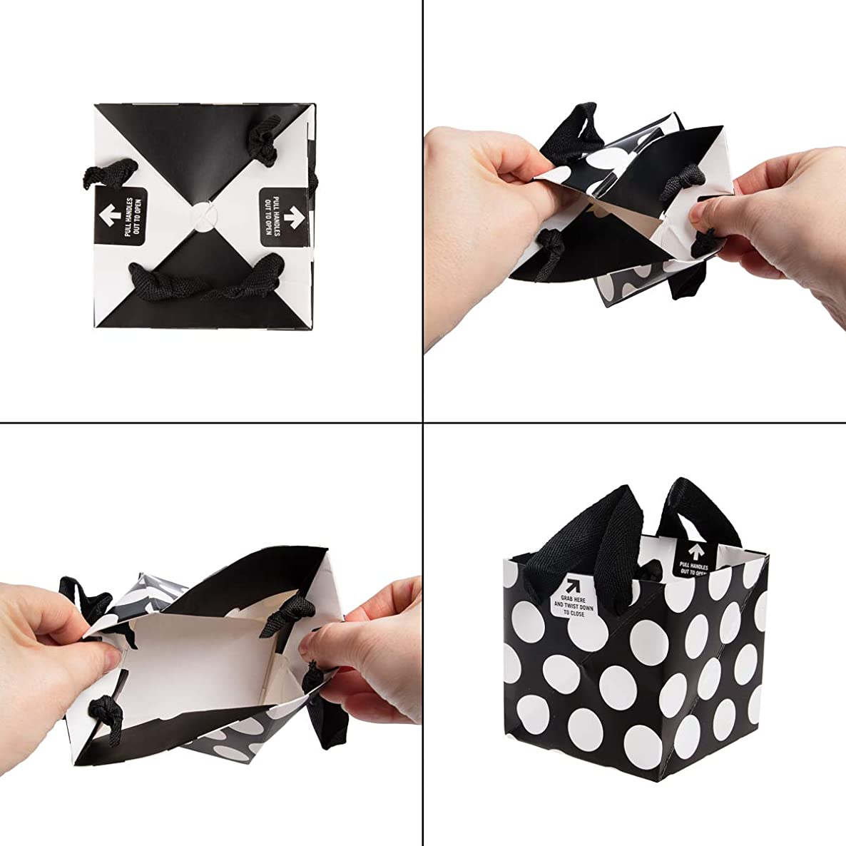 Built (5 Pack) Easy Oragami Paper Gift Bags Bulk Pinwheel Holiday Gift Bags with Handles Valentine's Day Xmas