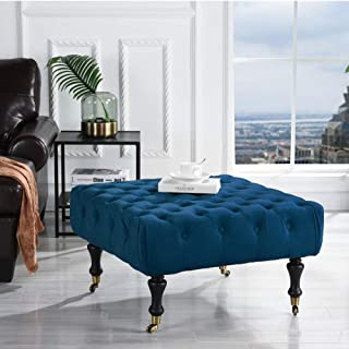 Divano Roma Furniture Classic Tufted Velvet Footrest/Footstool/Ottoman with Casters (Royal Blue)