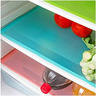 E-lishine Multifunctional Refrigerator Pads Non-Slip Moisture Absorption Pad Washable Can Be Cut Refrigerator Mats,Set of 4 (Blue)