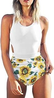 Women's Sunflower Print Tank Top High Waisted One Piece Swimsuit Zipper Floral Bathing Suit Sports Swimwear Tankini