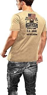 Warface Apparel Army Combat Engineer Sapper T-Shirt US Flag 2 Sided Print Tan Tee