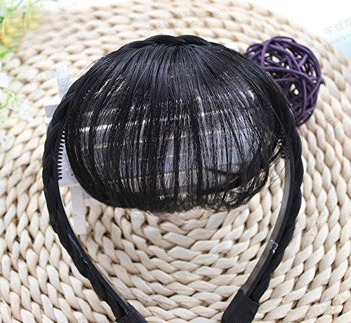 SAEONS(サエオンズ)エアリーバンク空気感前髪ウィッグ三つ編みウィッグ付カチューシャぱっちんクリップ微かストレートポイント部分ウィッグ2タイプ簡単結婚式hairbandblackbrown