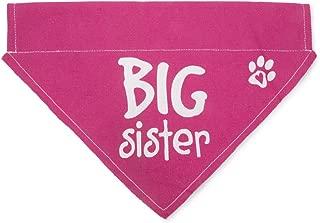 Pavilion Gift Company 45614 Pavilion's Pets - Pink Paw Print Large Dog Slip on The Collar Bandanna - Big Sister