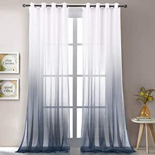 Alloy Grey Gradient Ombre Sheer Curtains 102 Inch Long for Living Room, Grommet Top Voile Bedroom Curtain Bedding Drapes,2 Panels 52