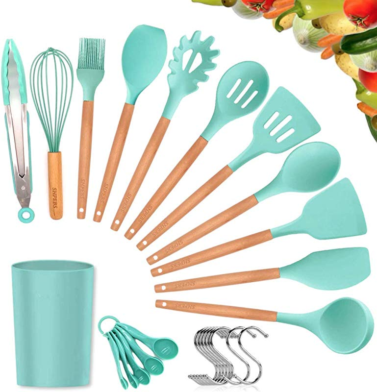 Kitchen Utensil Set 27Pcs Cooking Utensils Set Silicone Kitchen Tools Wooden Spatula Set Non Stick Cookware Turner Tongs Spatula Spoon Kitchen Gadgets With Holder BPA FREE FDA APPROVED