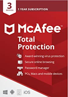 McAfee Total Protection 2021   3 Device   1 Year   Antivirus Software, Internet Security, Password Manager, Mobile Securit...