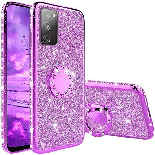 Vansdon Funda Compatible con Samsung Galaxy S20 FE, Estuche Protector de Diamantes Brillantes con Anillo de 360 Grados, Bumper de Silicona TPU Suave - Plateado