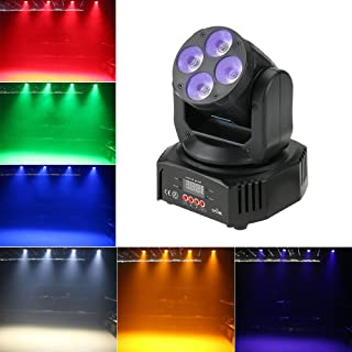 Tomshine 60W Moving Head Lights 6 IN1 DMX-512 16/18 Channels Stage Lighting Sound Activated Spotlight RGBW+Amber+UV for Party KTV Pub Bar Disco Dj Show Wedding Ceremony