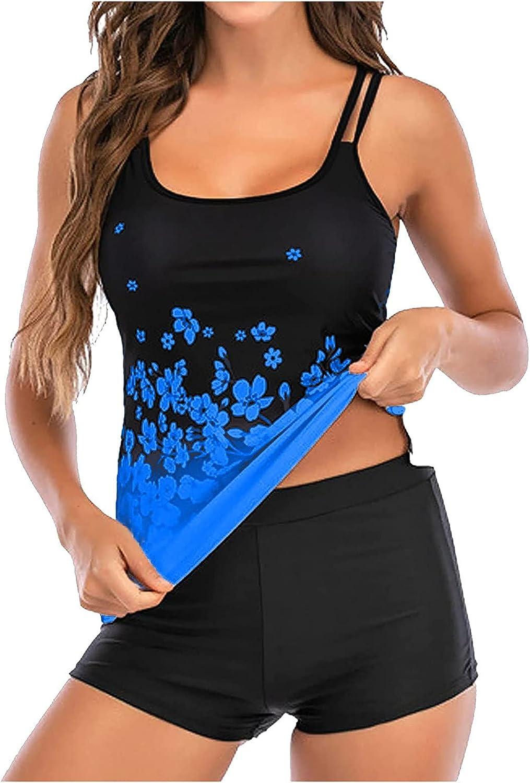UODSVP Tankini Swimsuits For Women Plus Size Two Piece Swimwear High Waisted Tummy Control Boyshort Tankini Bathing Suits