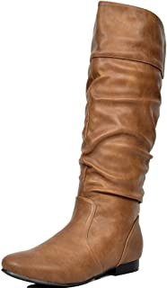 Best knee high brown leather boots flat Reviews