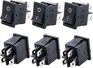 Twidec/6Pcs AC 6A/125V 10A/250V DPST 4 Pins 2 Position ON/Off Car Boat Black Rocker Switch Toggle(Quality Assurance for 1 Years)KCD1-4-201