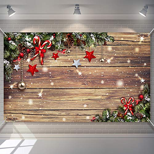 Christmas Wood Wall Backdrop Xmas Rustic Photography Background Snowflake Photo Booth Prop Christmas Party Home Decorations for Winter New Year Eve Party Decoration, 72.8 x 43.3 inch
