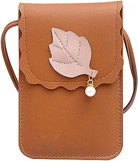 Everpert Women Leaf Pearl Pu Leather Shoulder Handbag Mini Messenger Phone Bag/Black