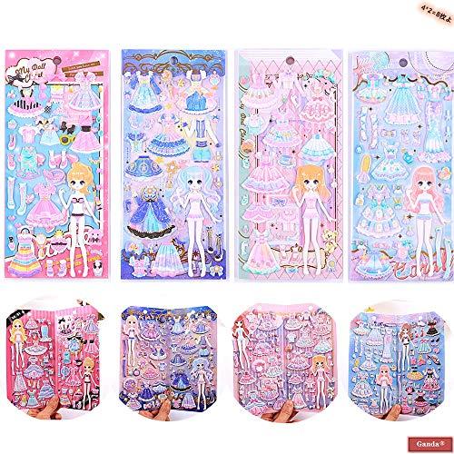 Ganda 手帳ステッカー、少女シール、漫画キャラクターの3Dステッカー、,姫様と王女の夢のような衣服のステッカー、ファッションガール服ステッカー、素晴らしい靴、バッグ、服を着て、クールスタイルのステッカー、子供のための最高の贈り物!誕生日のプレゼント,4