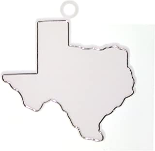 ACI PARTY AND SPIRIT ACCESSORIES 12 Piece Texas Shape Trinket Plastic Outlined in Metallic Silver, White