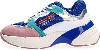 Pinko 女士 Zaffiro 运动鞋 Rete Tecnica 麂皮一脚蹬运动鞋 Multicolour (Blu/Bianco/Rosa Ezn) 4 UK