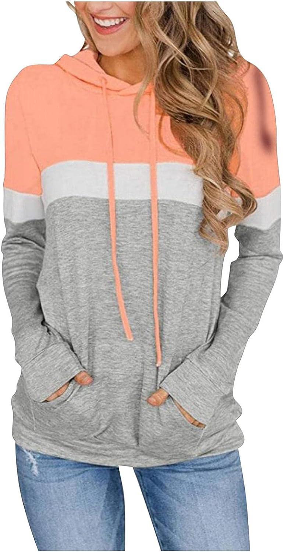 Gerichy Womens Casual Color Block Hoodies Tops Long Sleeve Drawstring Striped Sweatshirts Cute Cool Hoodies with Pocket
