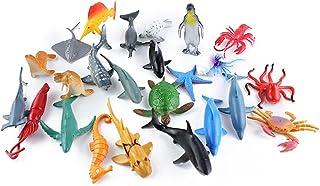 NUOLUX 24pcs Plastic Sea Animal Figure Set Realistic Animal Toys Mini Sea Animal Party Favors For Kids Toddlers (Mix Model)