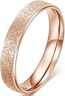 Womens 4mm Stainless Steel Sand Blast Finish Rose Gold Wedding Band Engagement Lady Vintage Ring