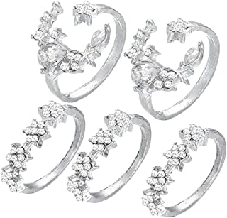 Baoblaze 5 Set Ring Vintage Star Moon Crystal Rings Stackable For Women