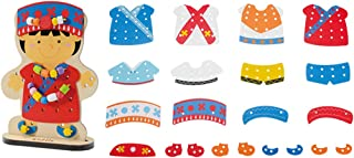CUTICATE Wooden Dress-Up Doll Lacing Beads Game Kids Educational Toy Set - Hmong