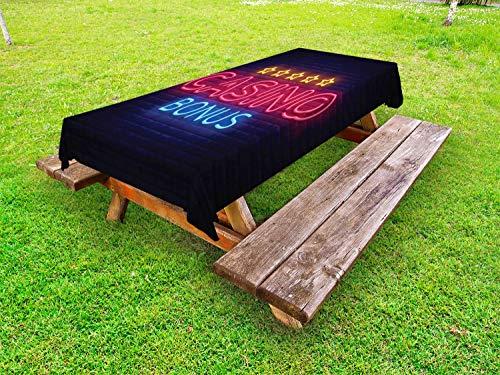 ABAKUHAUS Poker Tafelkleed voor Buitengebruik, Retro Vegas Casino Sign Art, Decoratief Wasbaar Tafelkleed voor Picknicktafel, 58 x 120 cm, Donkergrijs Multicolor