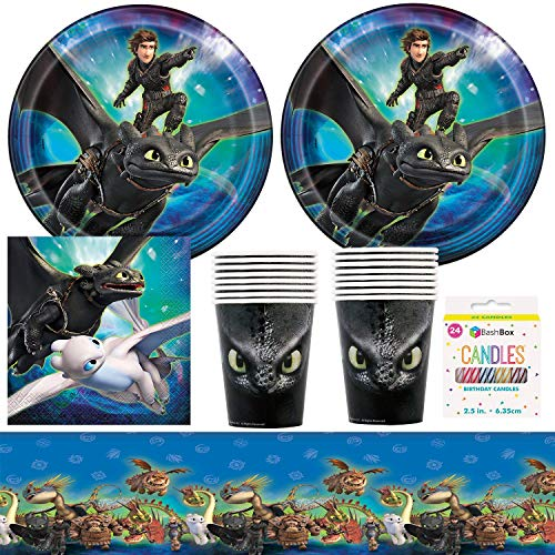 BashBox DreamWorks How To Train A Dragon Birthday Party Supplies Pack Including Plates, Cups, Napkins, Tablecover (16 Guests) Plus BONUS Candles