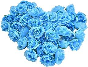 YOTINO 50 kleine kunstmatige rozenbloemen, lichtblauw