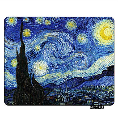 Nicokee Gaming Mousepad Starry Night by Vincent Van Gogh Mouse Pad Rectangle Mouse Mat