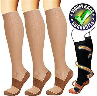 3 Par Calcetines de Compresión, para Hombre y Mujer, Deporte, Running, Correr, Varices, circulación sanguínea, recuperación, Embarazo, vuelos, Dolor de espinillas y piernas