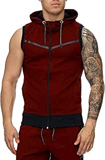 8436c932bf43a POQOQ Vest Jacket Lightweight Patchwork Sleeveless Contrast Hoodie Men