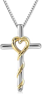 14K White Gold Plated Cross Necklace for Women-Dainty Rose Flower Crucifix Pendant Necklace Birthday Jewelry Gifts, 18-20 Inches Link Chain