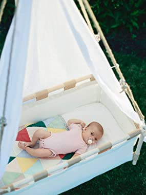 Hussh Hanging Cradle 'Flex' | Baby Crib, Bassinet for Nursery, Springs and Swings, Organic Cotton. Fairly Made. Compl