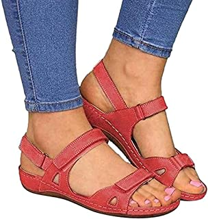 Peep Toe Women Flat Sandals, Rome Summer Fashion Ankle Buckle Strap Wedges Shoes Leisure Lightweight Summer Shoes Elegant Comfortable Outdoor Sandals,D,37