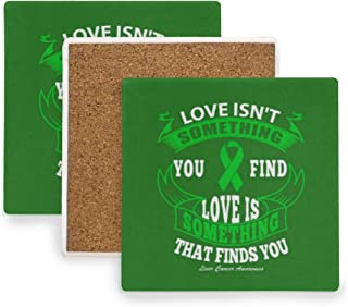 4 Pieces Absorbent Stone Coasters, Square Coasters Set with Liver Cancer Awareness Quote