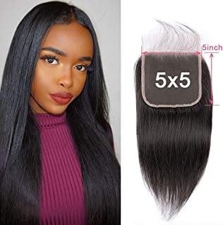 SingleBest 5x5 Lace Closure Straight Human Hair 8A Brazilian Virgin Hair Free Part Closure With Baby Hair Natural Color 10 inches