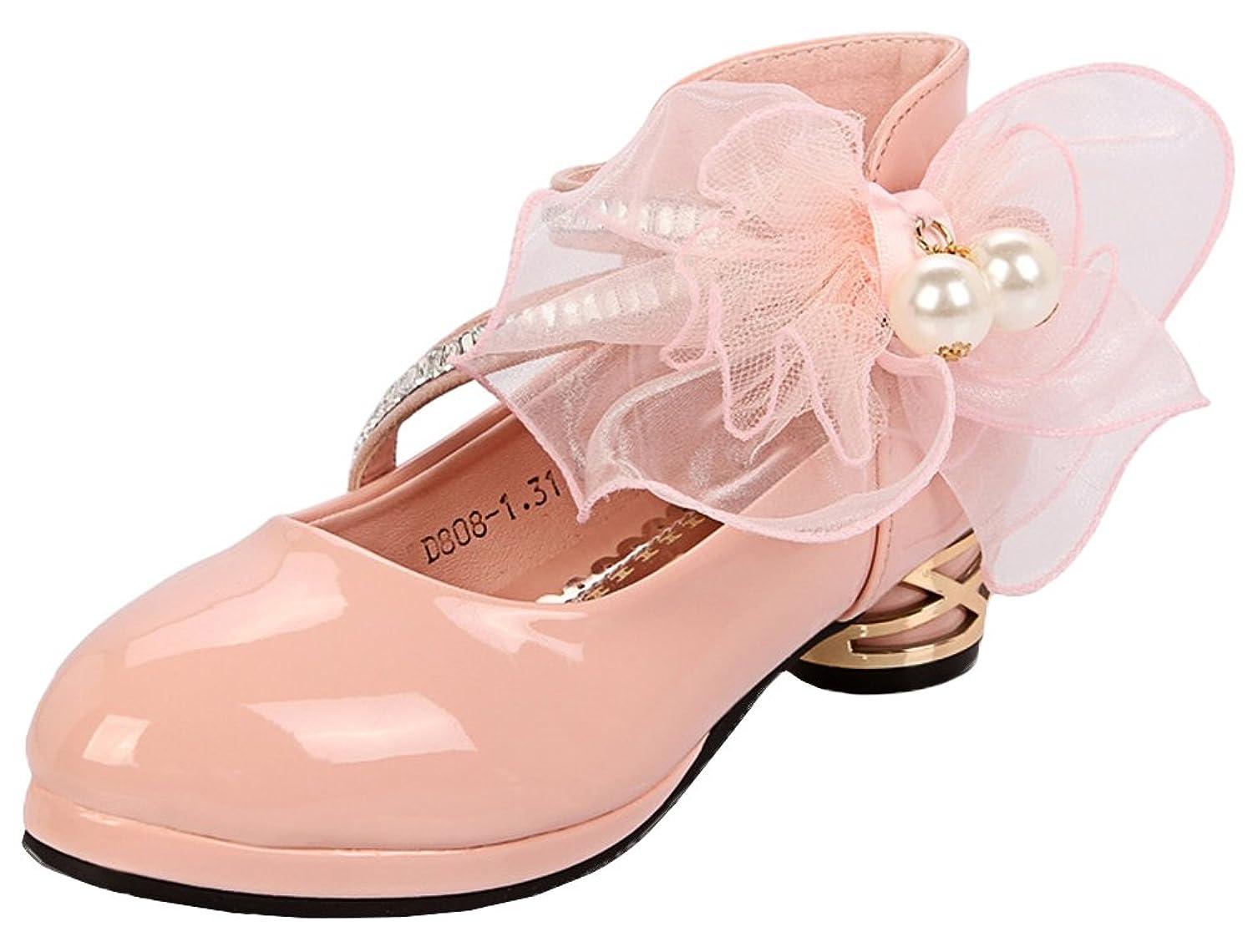 [Snone] 子供靴 キッズフォーマル靴 花飾り 女の子用 フォーマル プリンセスシューズ サンダル ドレス靴