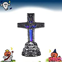 BSZON LED Graveyard Tombstones Halloween Headstone Light 7 Colors Skull Graveyard Lamp Decorations for Halloween Yards Tombstone Shape Decor SuppliesHaunted House Props Home Decor Party Gifts Cross