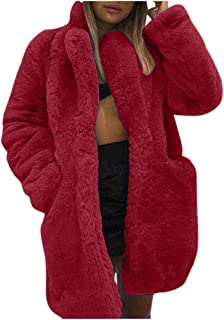 Oldlover✚New Womens Thick Faux Fur Parka Long Overcat Peacoat Winter Coats Jackets Long Sleeve Outwear with Pocket